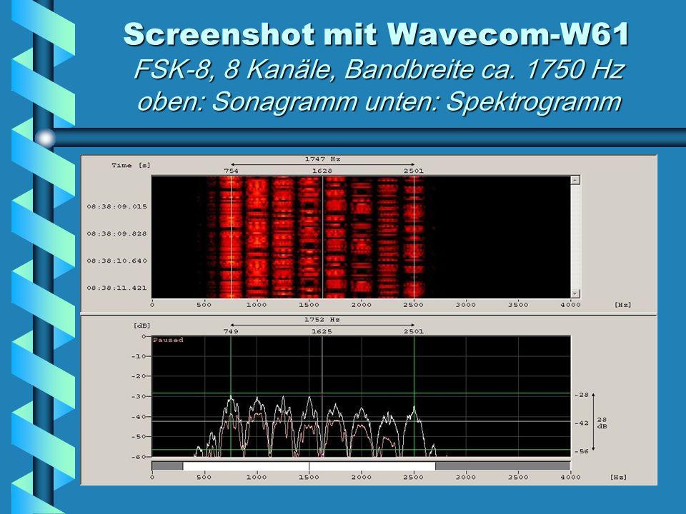 Screenshot mit Wavecom-W61 FSK-8, 8 Kanäle, Bandbreite ca