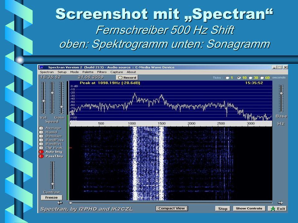 """Screenshot mit """"Spectran Fernschreiber 500 Hz Shift oben: Spektrogramm unten: Sonagramm"""