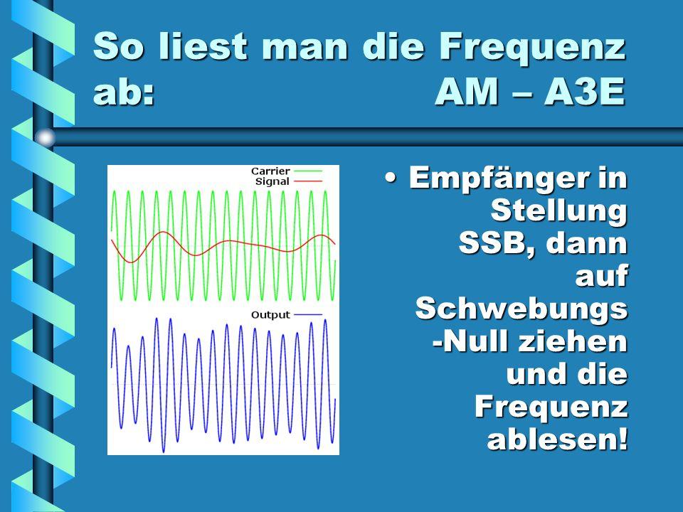 So liest man die Frequenz ab: AM – A3E