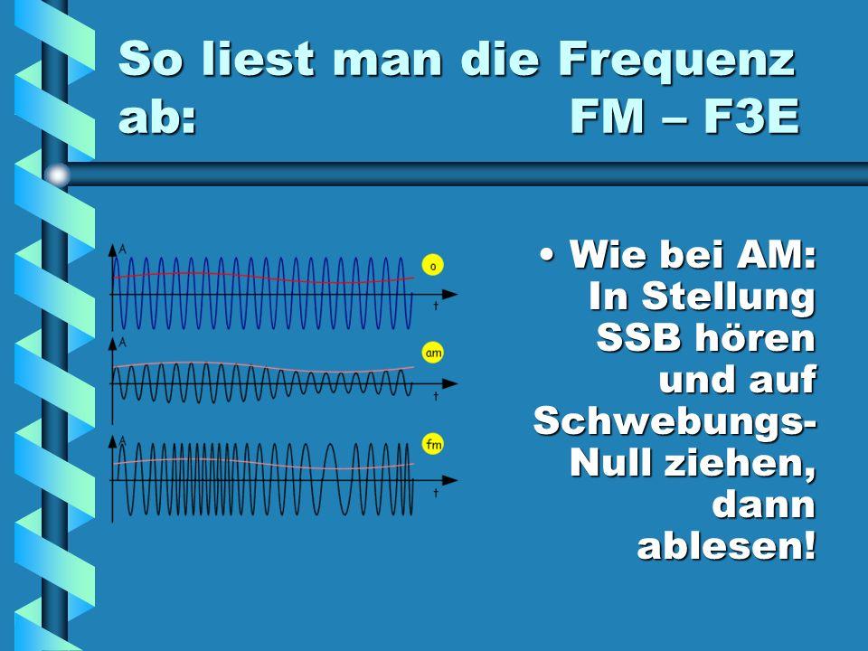 So liest man die Frequenz ab: FM – F3E
