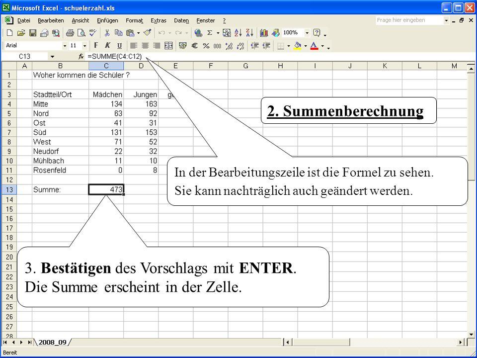 2. Summenberechnung In der Bearbeitungszeile ist die Formel zu sehen. Sie kann nachträglich auch geändert werden.