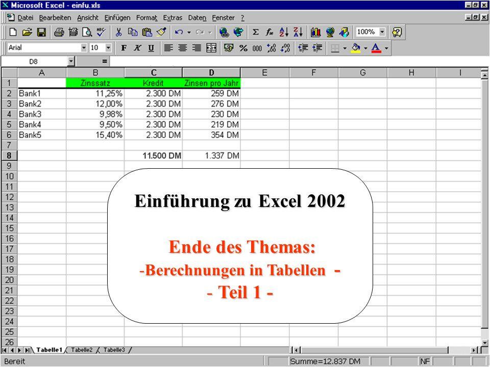 Berechnungen in Tabellen -