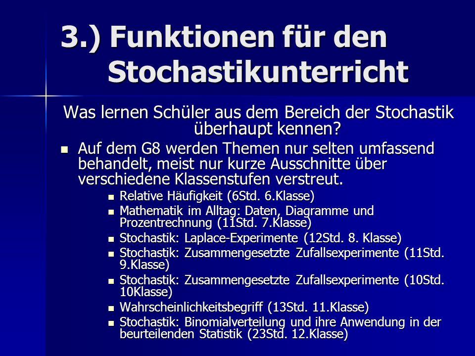 3.) Funktionen für den Stochastikunterricht