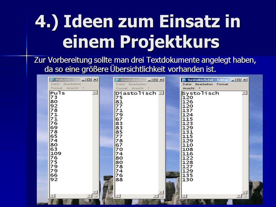 4.) Ideen zum Einsatz in einem Projektkurs