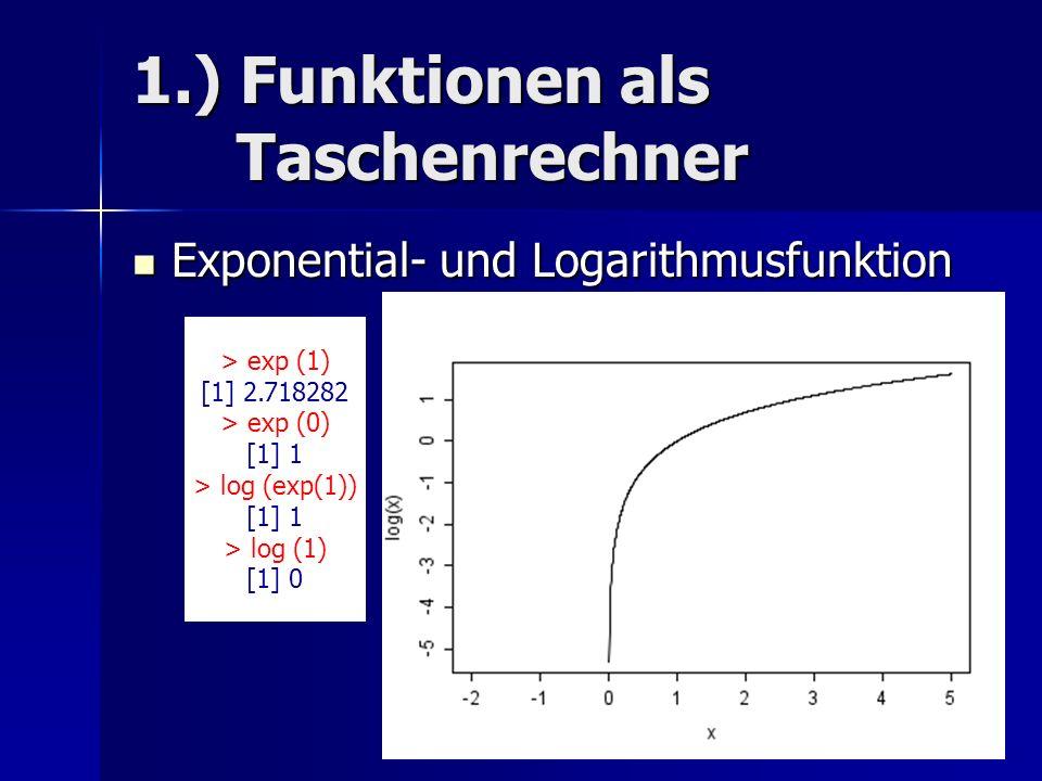 1.) Funktionen als Taschenrechner