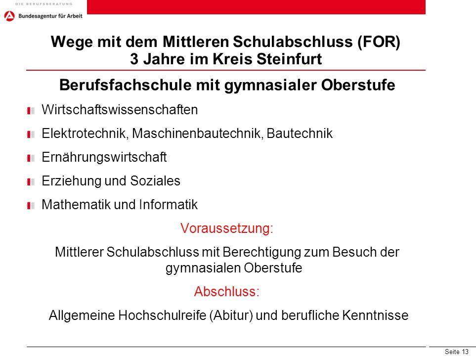 Wege mit dem Mittleren Schulabschluss (FOR) 3 Jahre im Kreis Steinfurt