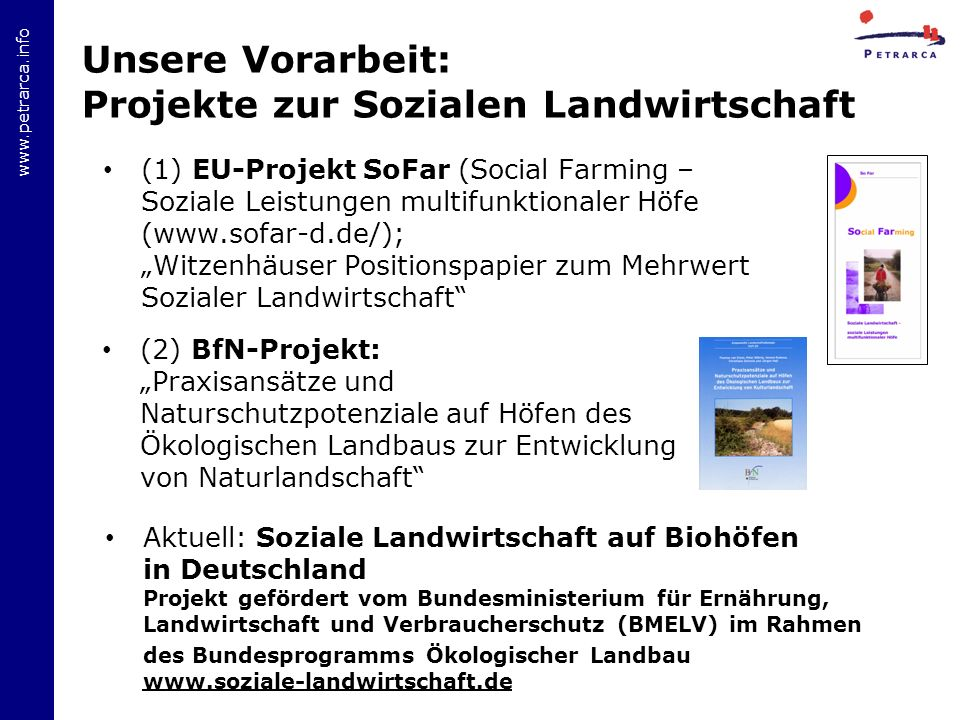 Unsere Vorarbeit: Projekte zur Sozialen Landwirtschaft