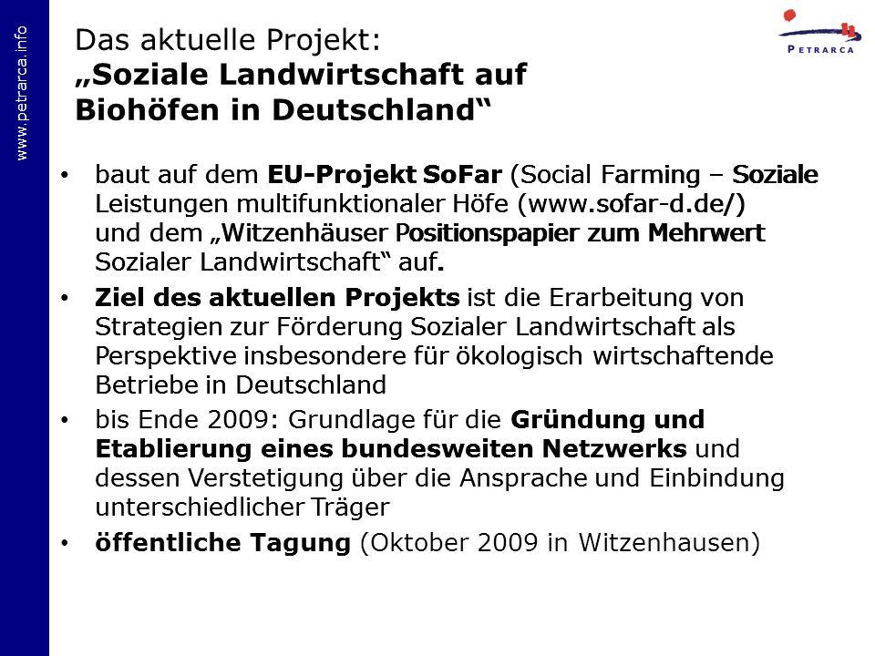 """Das aktuelle Projekt: """"Soziale Landwirtschaft auf Biohöfen in Deutschland"""