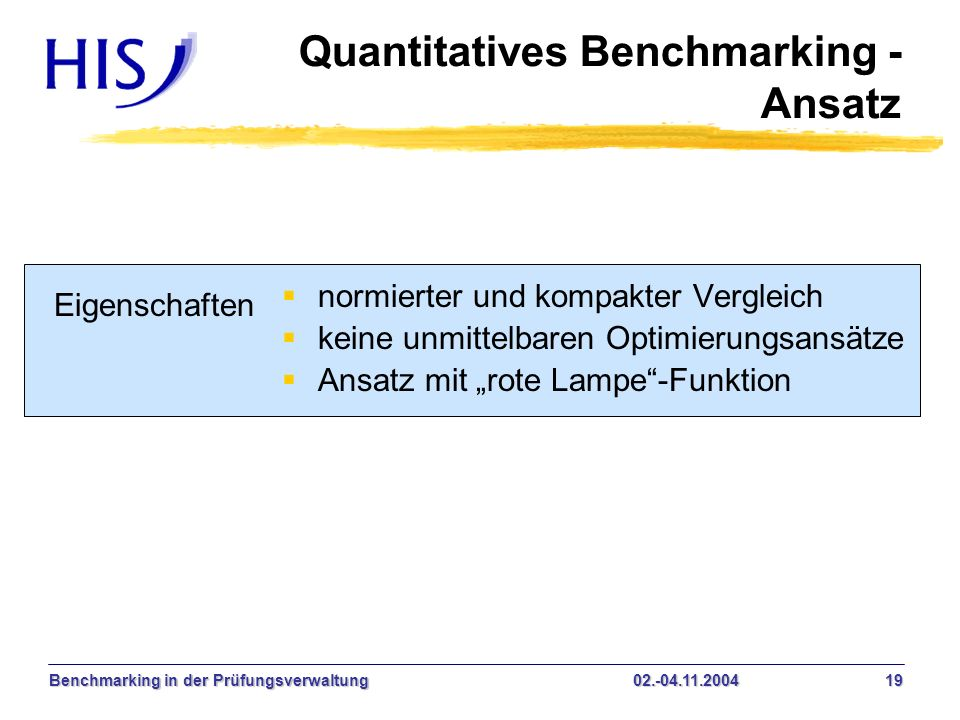Quantitatives Benchmarking - Ansatz