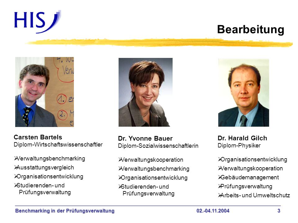 Bearbeitung Carsten Bartels Dr. Yvonne Bauer Dr. Harald Gilch