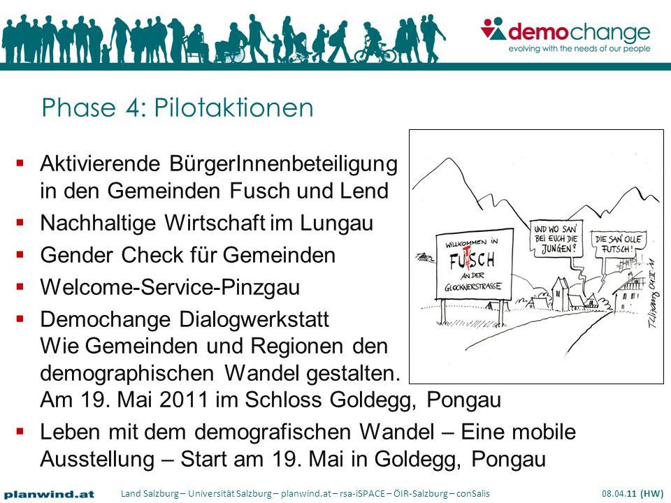 Phase 4: Pilotaktionen Aktivierende BürgerInnenbeteiligung in den Gemeinden Fusch und Lend. Nachhaltige Wirtschaft im Lungau.