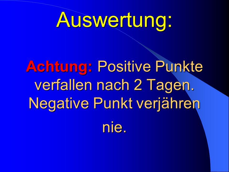 Auswertung: Achtung: Positive Punkte verfallen nach 2 Tagen