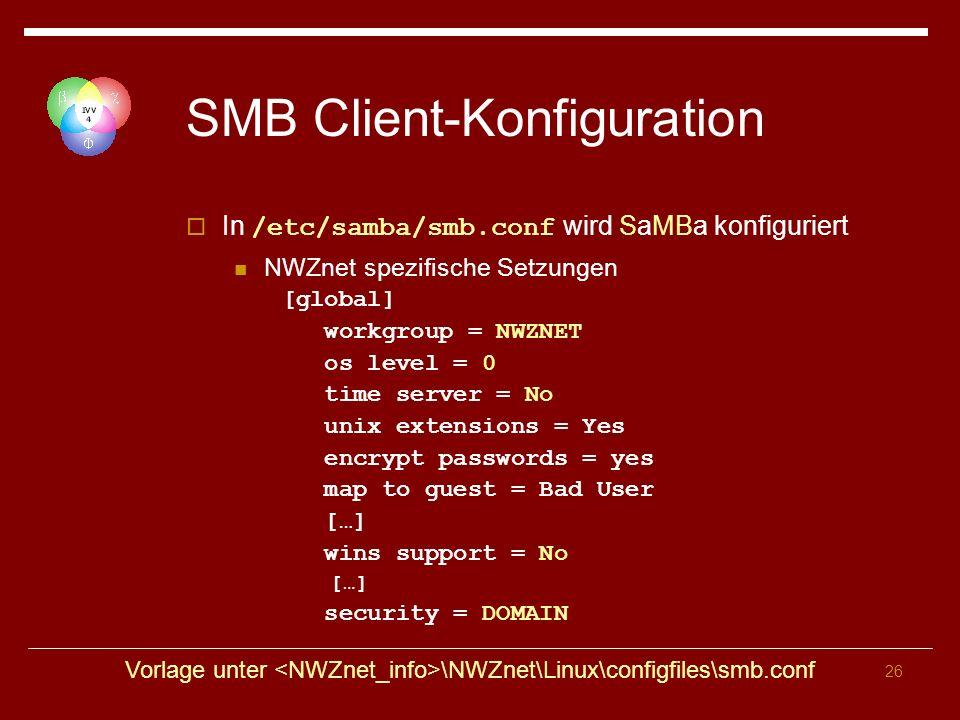 SMB Client-Konfiguration