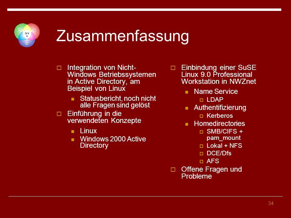 Zusammenfassung Integration von Nicht-Windows Betriebssystemen in Active Directory, am Beispiel von Linux.
