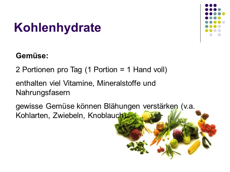 Kohlenhydrate Gemüse: 2 Portionen pro Tag (1 Portion = 1 Hand voll)