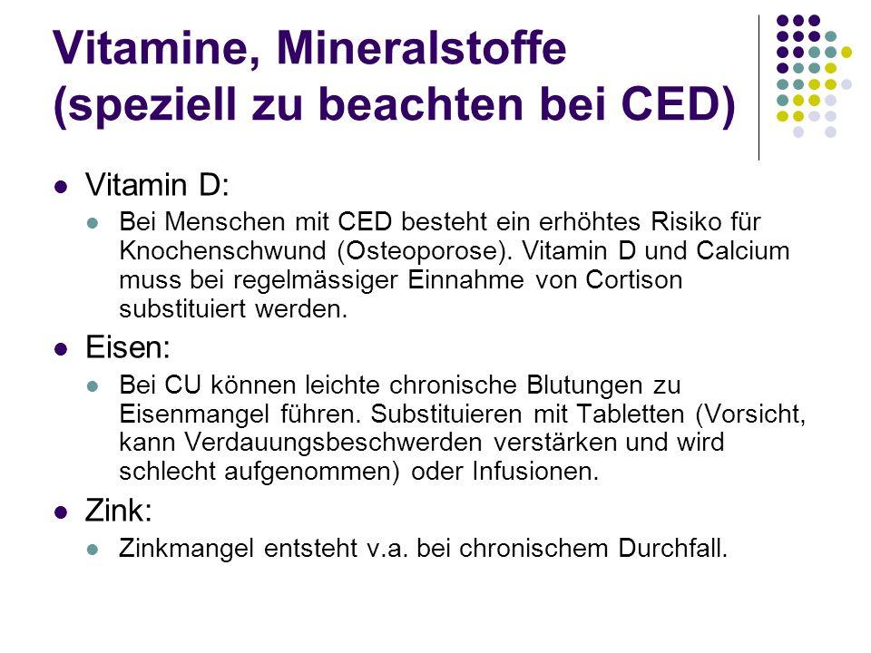 Vitamine, Mineralstoffe (speziell zu beachten bei CED)