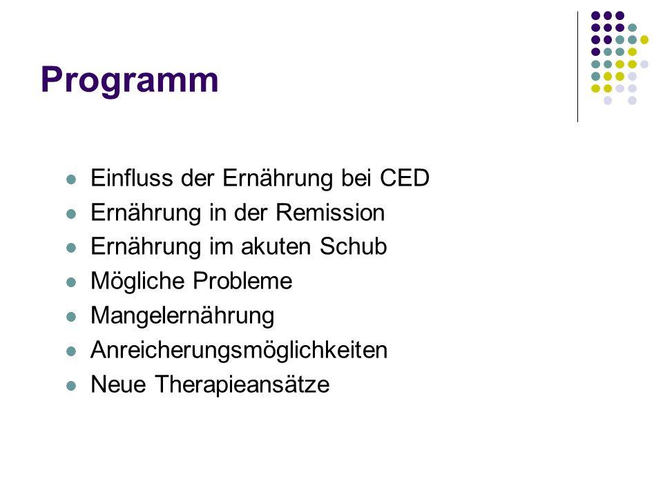 Programm Einfluss der Ernährung bei CED Ernährung in der Remission
