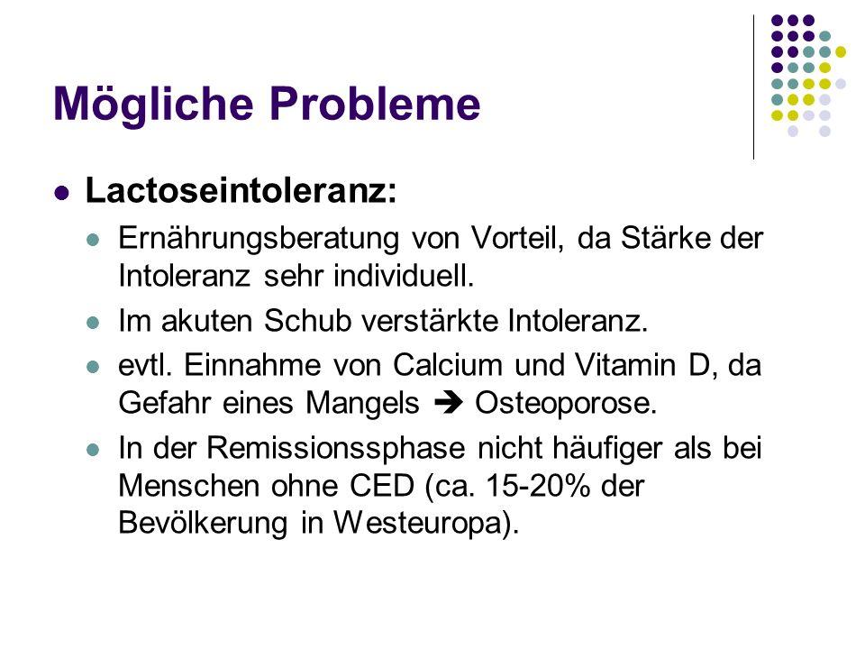 Mögliche Probleme Lactoseintoleranz: