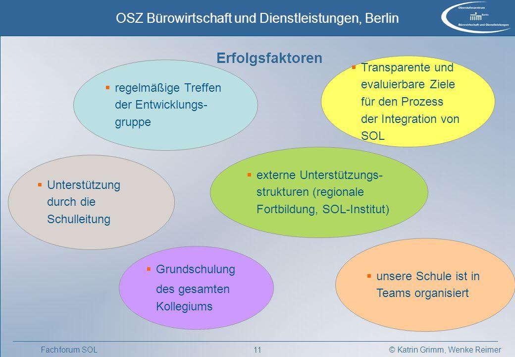 Erfolgsfaktoren Transparente und evaluierbare Ziele für den Prozess der Integration von SOL. regelmäßige Treffen der Entwicklungs-gruppe.
