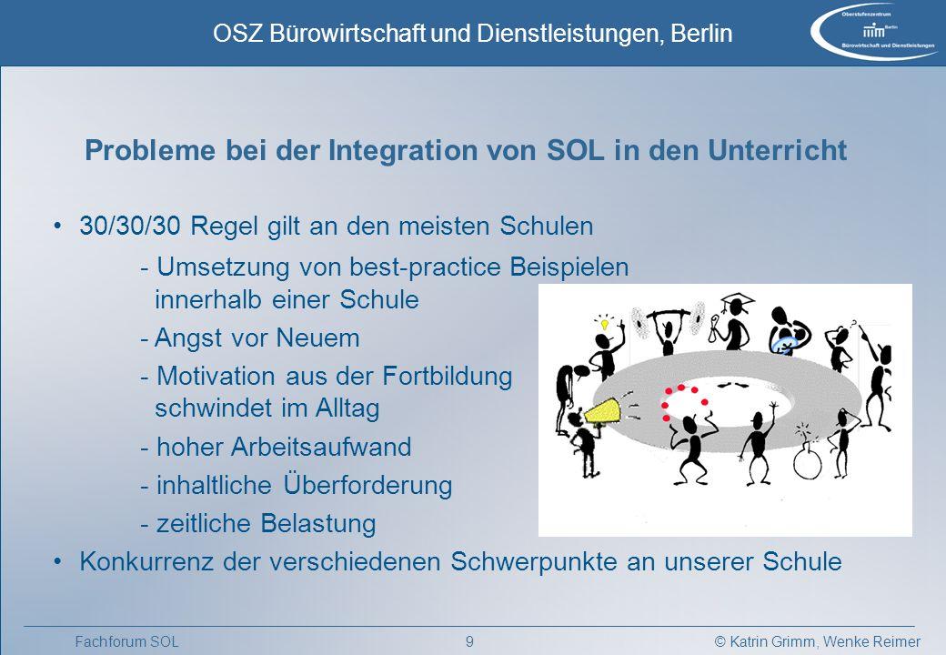 Probleme bei der Integration von SOL in den Unterricht