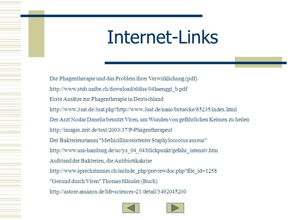 Internet-Links Die Phagentherapie und das Problem ihrer Verwirklichung (pdf) http://www.stub.unibe.ch/download/eldiss/04haenggi_b.pdf.
