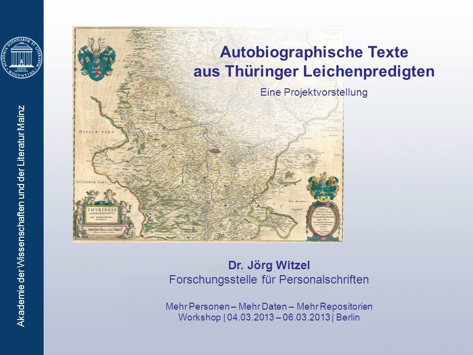 Autobiographische Texte aus Thüringer Leichenpredigten