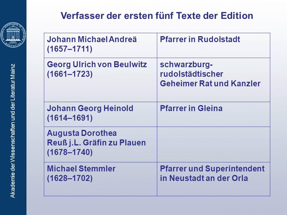 Verfasser der ersten fünf Texte der Edition