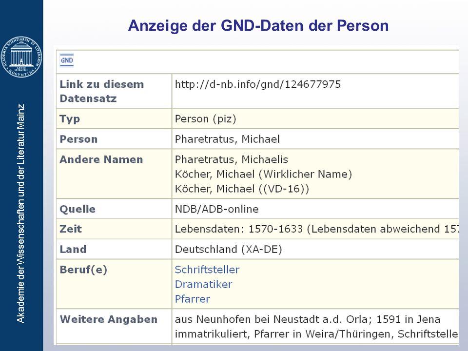 Anzeige der GND-Daten der Person