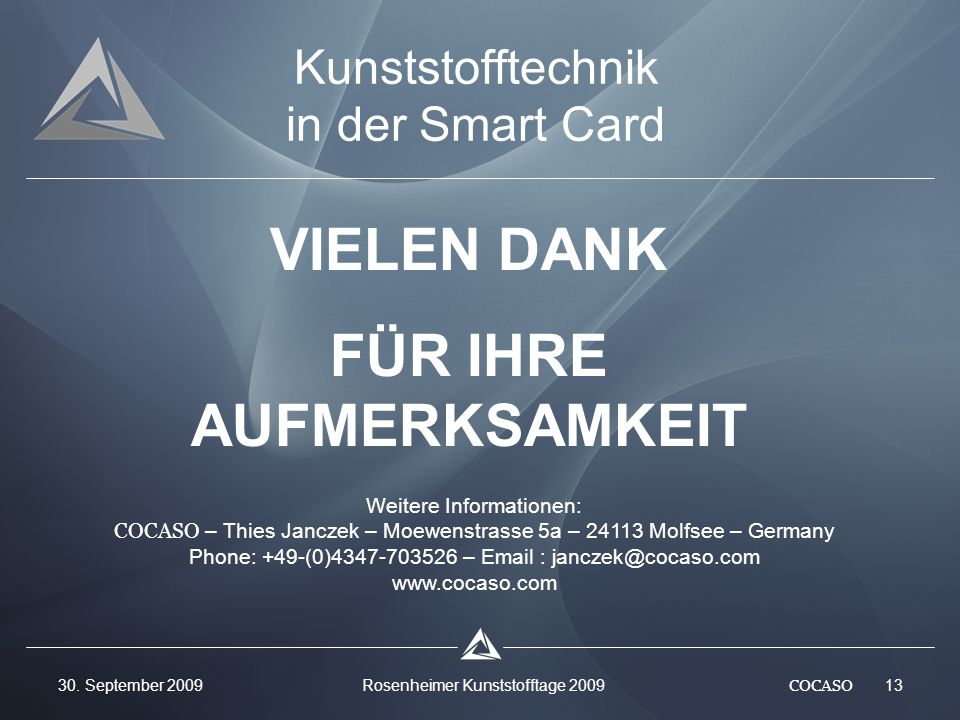 Kunststofftechnik in der Smart Card