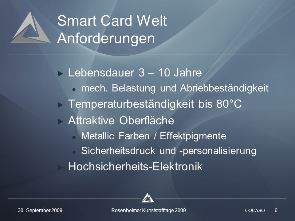 Smart Card Welt Anforderungen