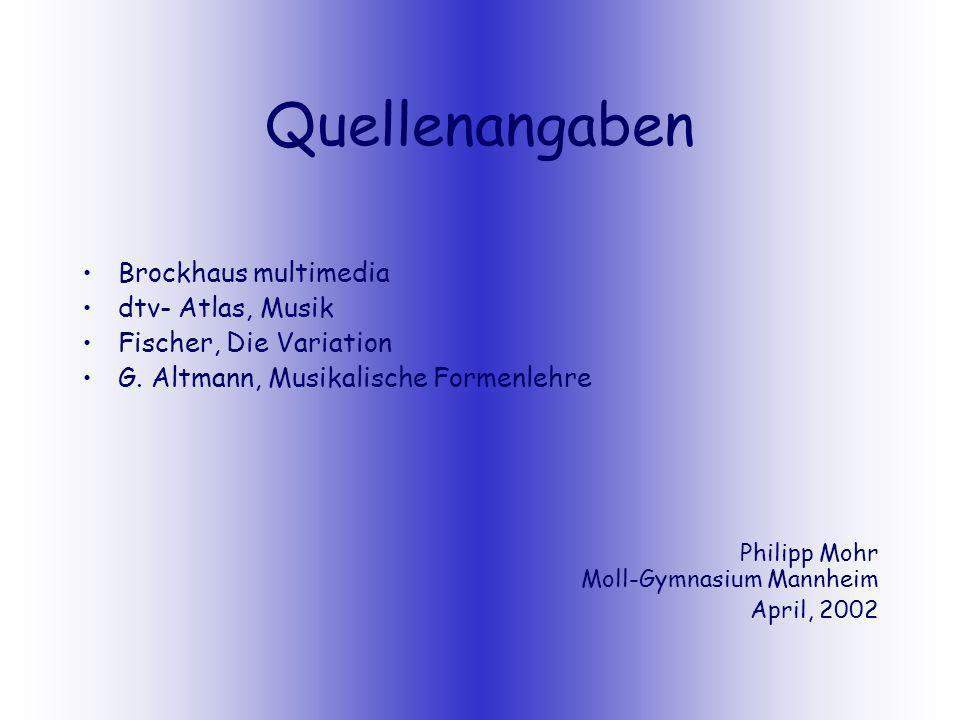 Quellenangaben Brockhaus multimedia dtv- Atlas, Musik