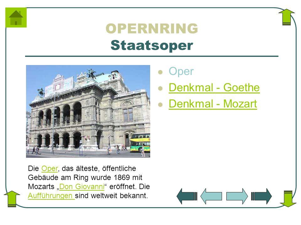 OPERNRING Staatsoper Oper Denkmal - Goethe Denkmal - Mozart