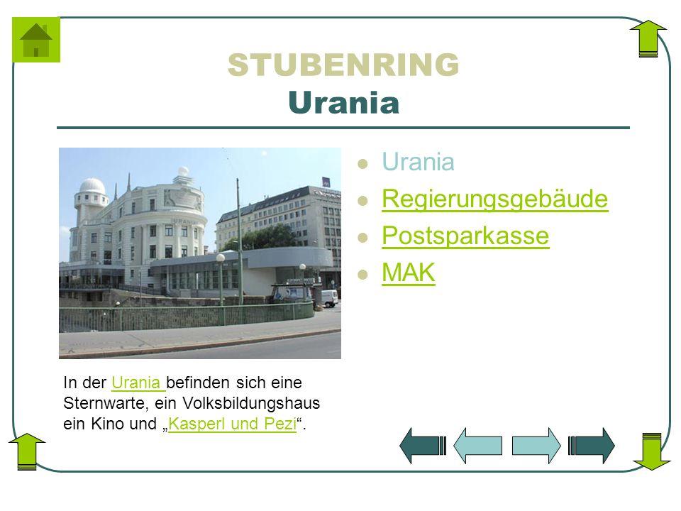 STUBENRING Urania Urania Regierungsgebäude Postsparkasse MAK