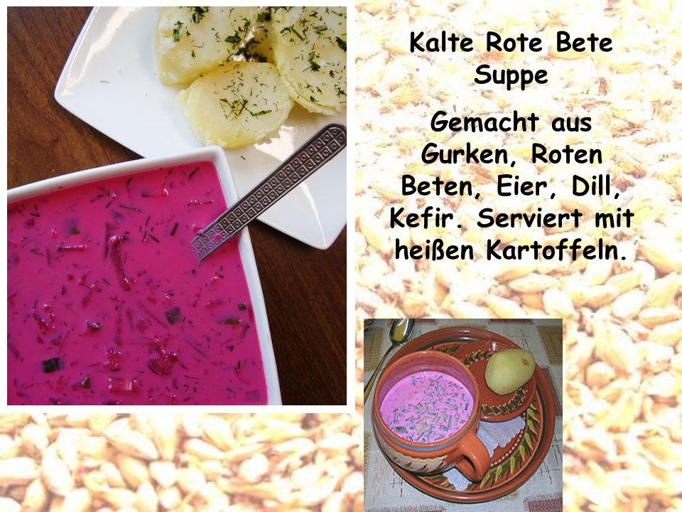 Kalte Rote Bete Suppe Gemacht aus Gurken, Roten Beten, Eier, Dill, Kefir.