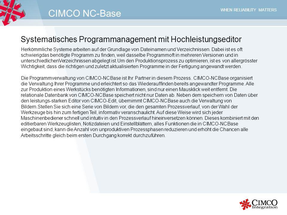 CIMCO NC-Base Systematisches Programmanagement mit Hochleistungseditor