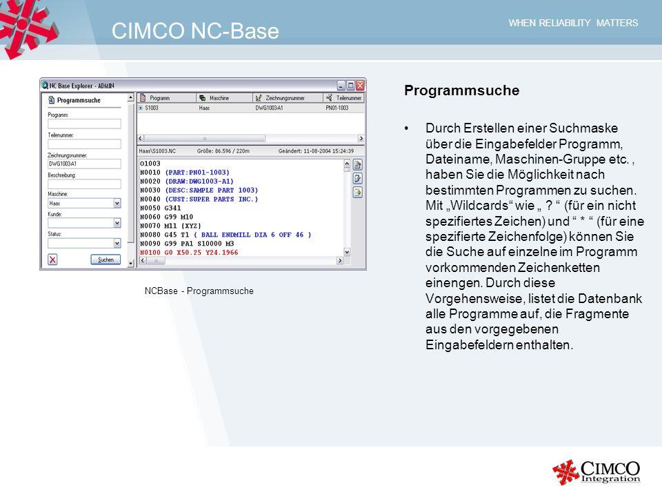 CIMCO NC-Base Programmsuche
