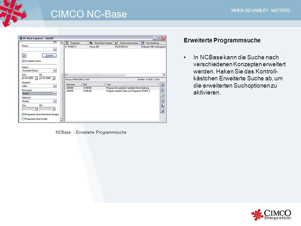 CIMCO NC-Base Erweiterte Programmsuche