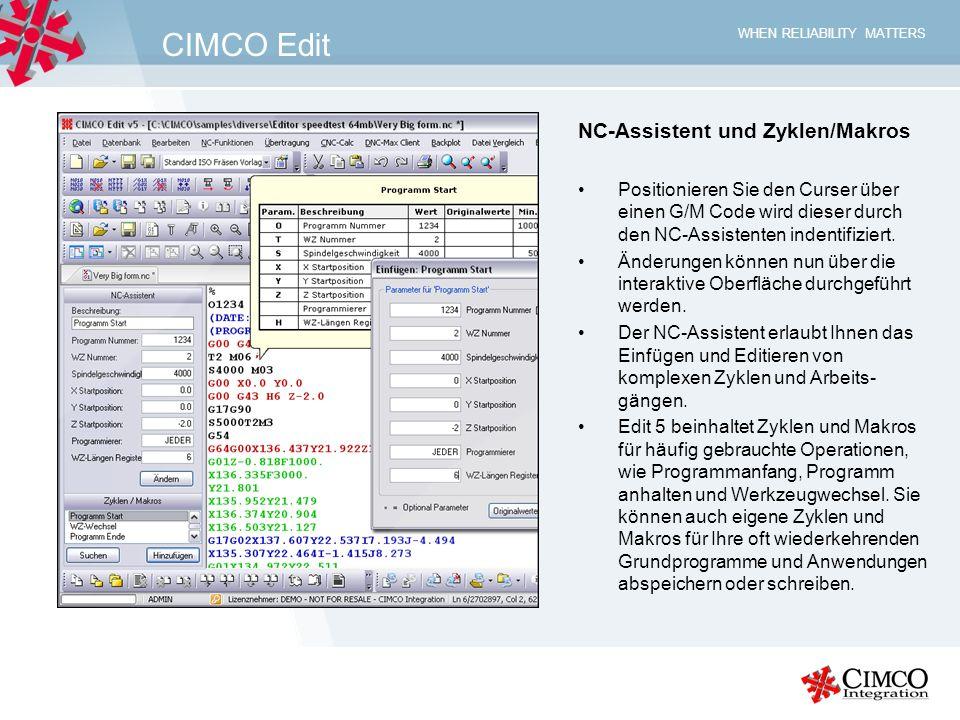 CIMCO Edit NC-Assistent und Zyklen/Makros