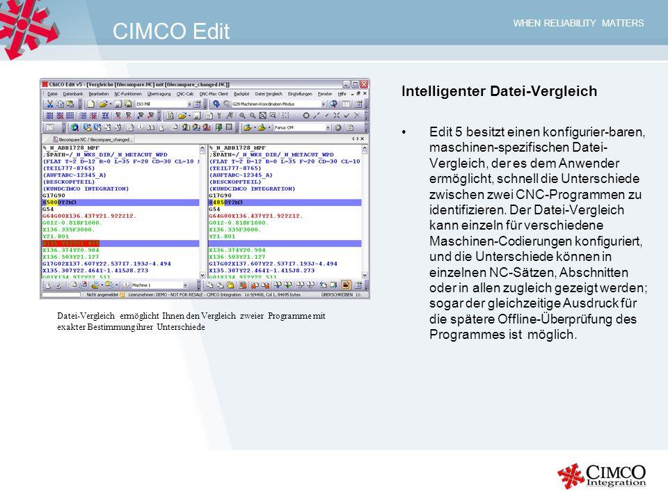 CIMCO Edit Intelligenter Datei-Vergleich