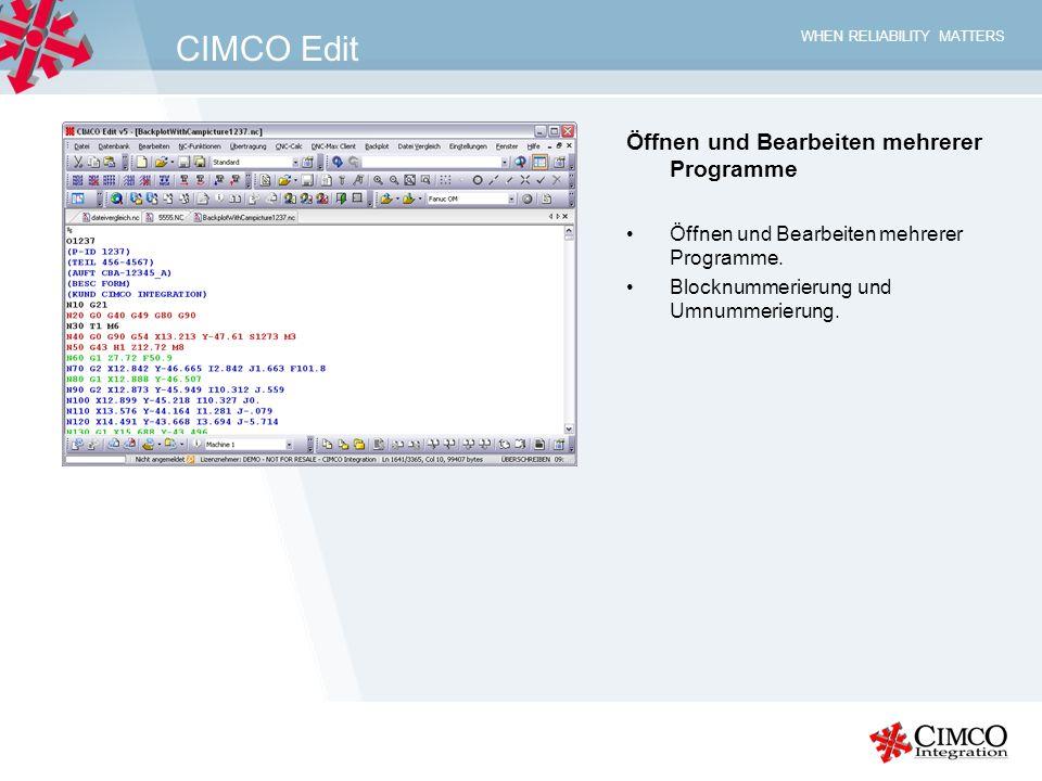 CIMCO Edit Öffnen und Bearbeiten mehrerer Programme