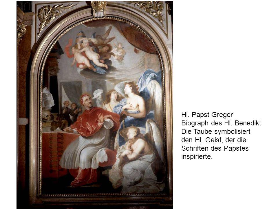 Hl. Papst Gregor Biograph des Hl. Benedikt. Die Taube symbolisiert. den Hl. Geist, der die Schriften des Papstes.