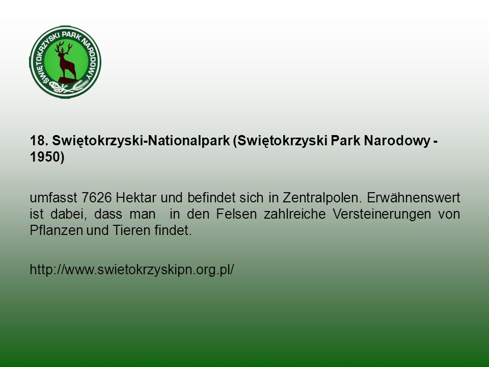 18. Swiętokrzyski-Nationalpark (Swiętokrzyski Park Narodowy - 1950)