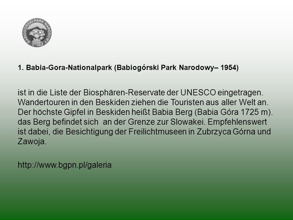 1. Babia-Gora-Nationalpark (Babiogórski Park Narodowy– 1954)