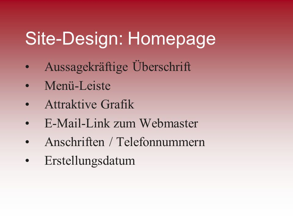 Site-Design: Homepage