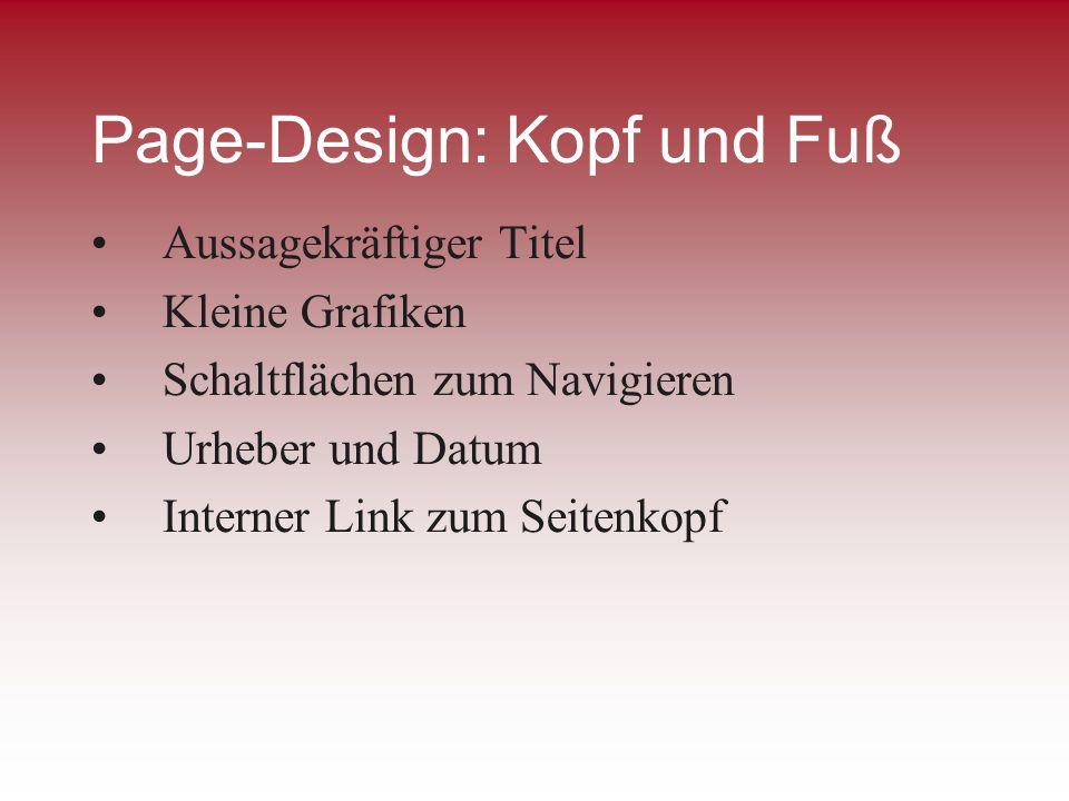 Page-Design: Kopf und Fuß