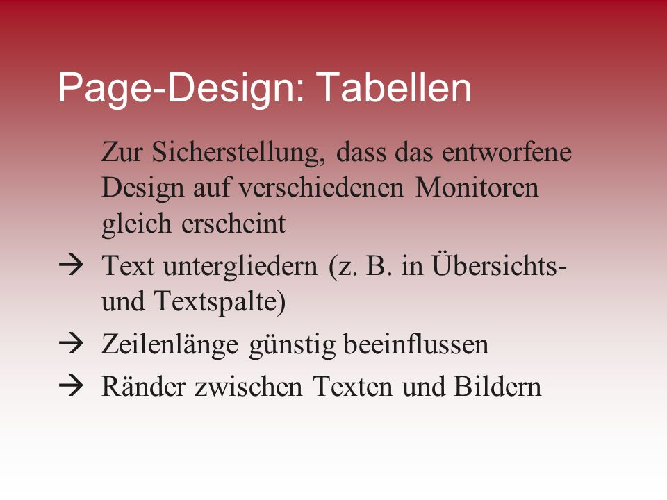 Page-Design: Tabellen
