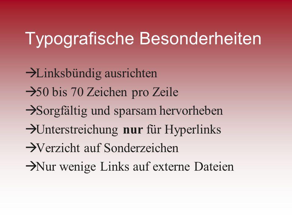 Typografische Besonderheiten