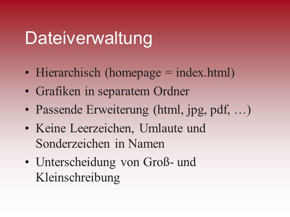 Dateiverwaltung Hierarchisch (homepage = index.html)