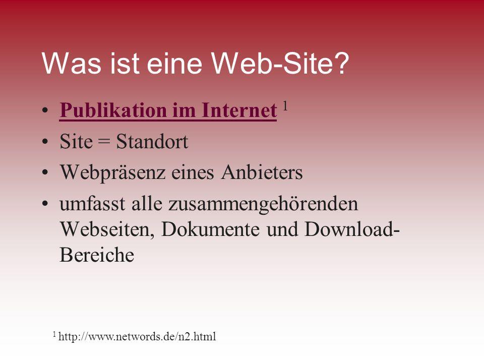 Was ist eine Web-Site Publikation im Internet 1 Site = Standort