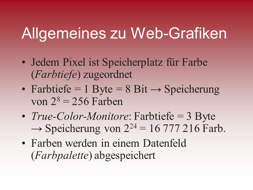 Allgemeines zu Web-Grafiken